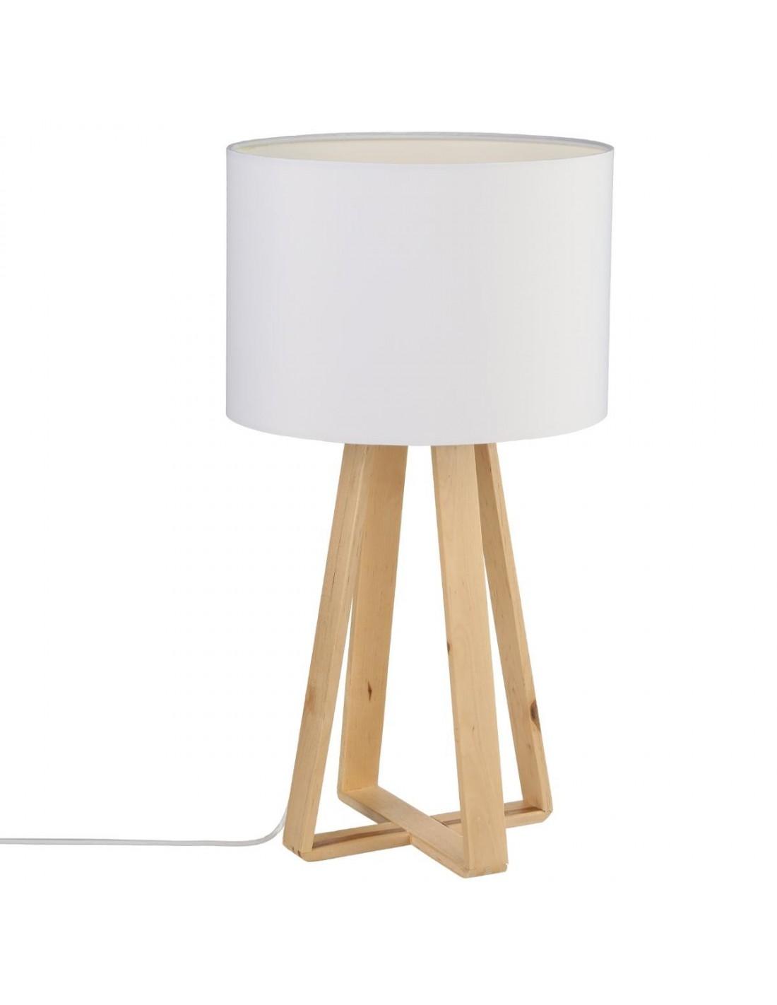 lampe blanche pied en bois h47 5. Black Bedroom Furniture Sets. Home Design Ideas