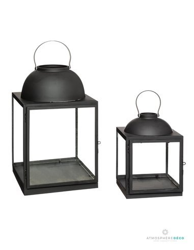 "Lot de 2 lanternes ""Safari"" en acier H37"