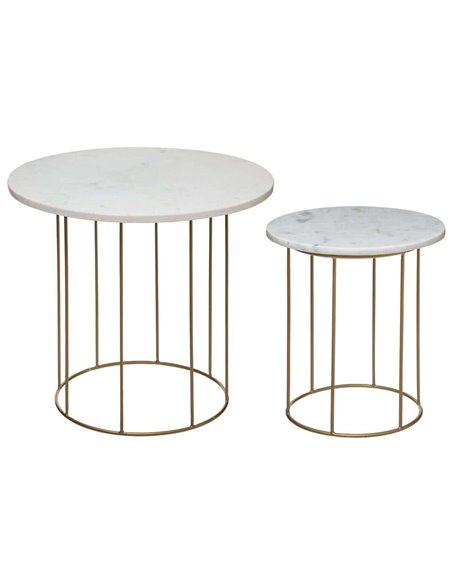 Set de 2 tables à café, plateau en marbre