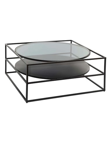 "Table basse ""Yoho"", plateau verre trempé 90x90 cm"